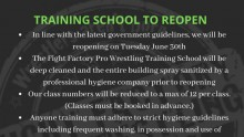 Training School to reopen June 30th thumbnail