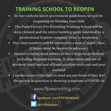 Training School to reopen June 30th